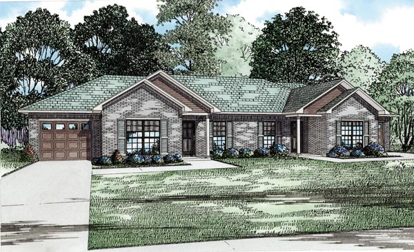 Traditional Multi-Family Plan 82255 Elevation