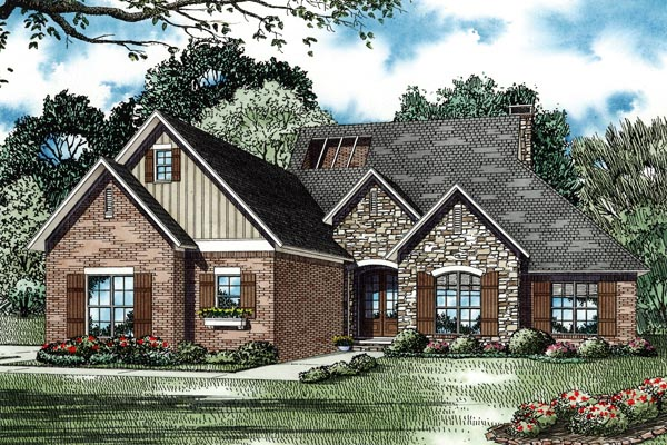 Contemporary Country European Traditional House Plan 82257 Elevation
