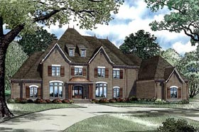 European , French Country , Traditional House Plan 82258 with 4 Beds, 5 Baths, 4 Car Garage Elevation