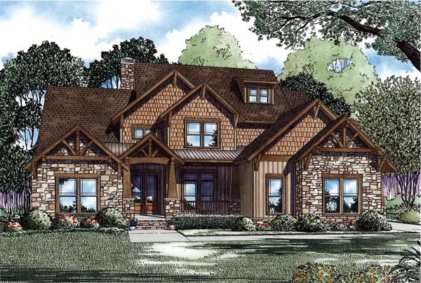 Country, Craftsman House Plan 82259 with 4 Beds, 3 Baths, 3 Car Garage Elevation