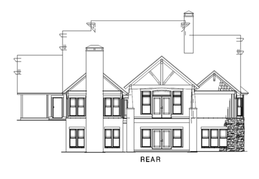 Country, Craftsman House Plan 82259 with 4 Beds, 3 Baths, 3 Car Garage Rear Elevation
