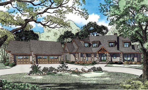 Craftsman European Tuscan House Plan 82261 Elevation