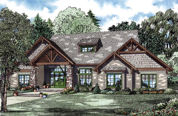 Country Craftsman Elevation of Plan 82262