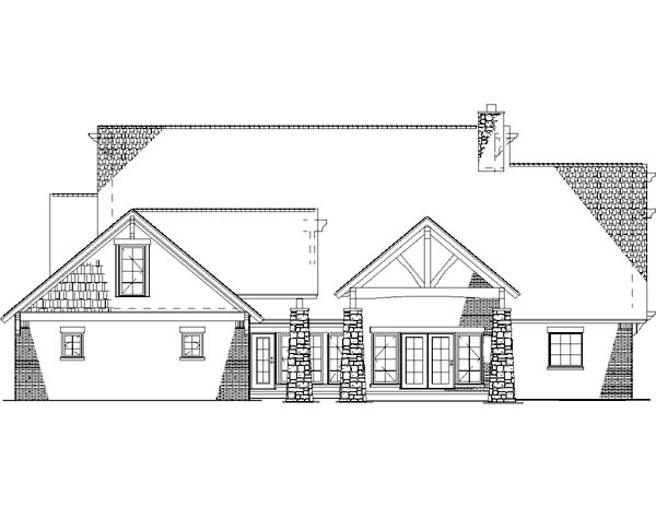 Country Craftsman Rear Elevation of Plan 82262