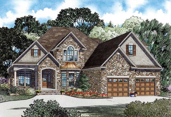 European House Plan 82264 with 3 Beds , 3 Baths , 2 Car Garage Elevation