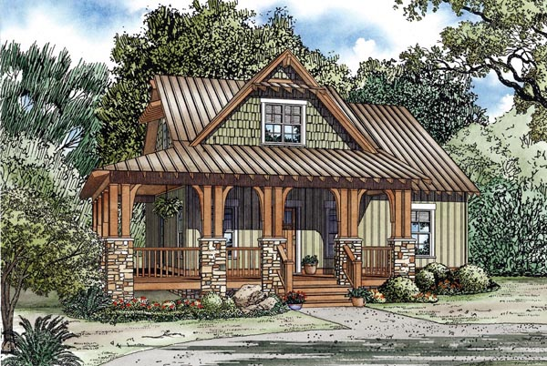 Cottage, Country, Craftsman House Plan 82267 with 3 Beds, 2 Baths Elevation