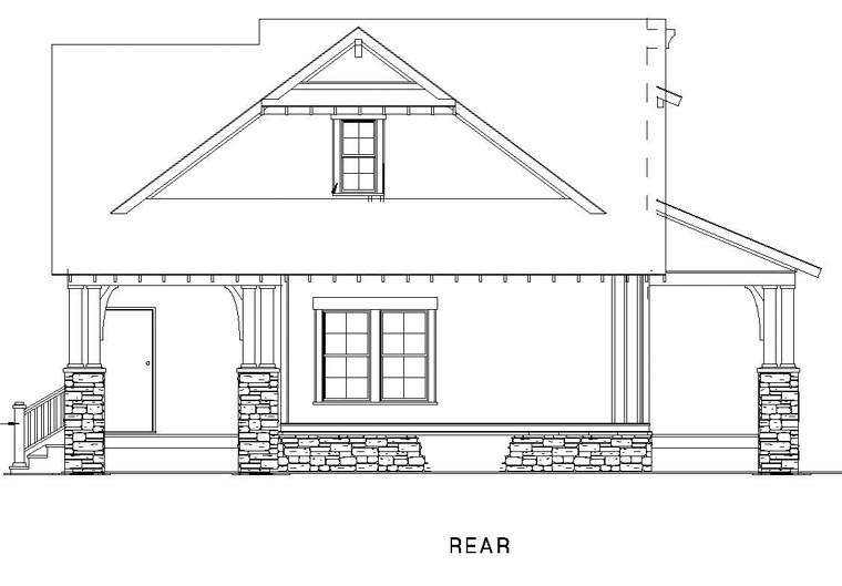 Cottage Country Craftsman House Plan 82267 Rear Elevation