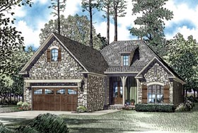 House Plan 82270 | European Style Plan with 1572 Sq Ft, 3 Bedrooms, 2 Bathrooms, 2 Car Garage Elevation