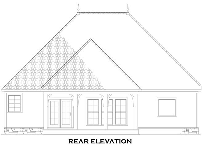 Craftsman European Tuscan House Plan 82272 Rear Elevation