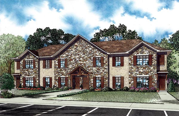 European Multi-Family Plan 82274 Elevation