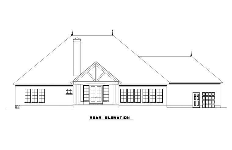 Country Craftsman European House Plan 82275 Rear Elevation