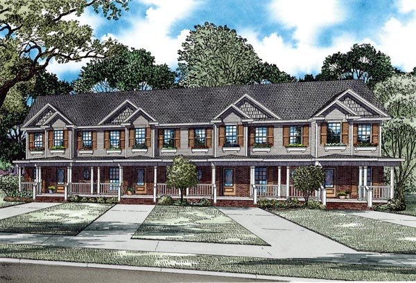 Multi-Family Plan 82277 with 8 Beds, 12 Baths Front Elevation