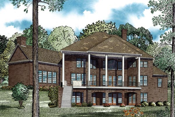 House Plan 82280 with 6 Beds, 8 Baths, 3 Car Garage Rear Elevation