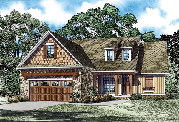Craftsman European Traditional Elevation of Plan 82282