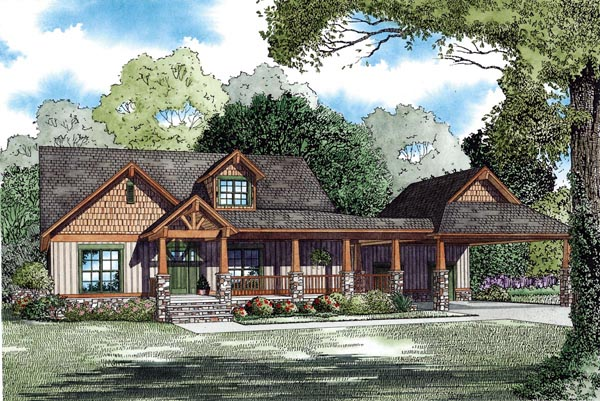 House Plan 82295 with 4 Beds, 4 Baths, 2 Car Garage Elevation