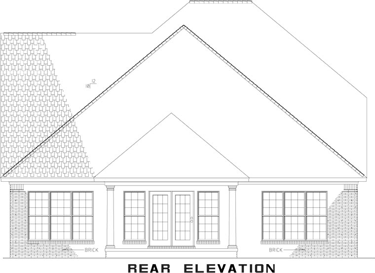Rear Elevation of Plan 82298