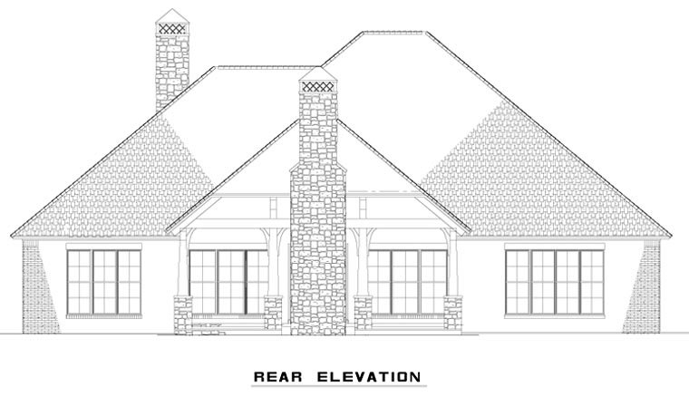 House Plan 82313 with 3 Beds, 3 Baths, 3 Car Garage Rear Elevation