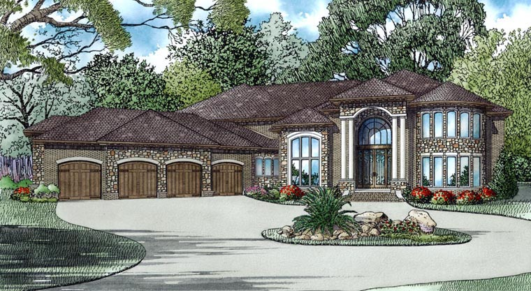 European House Plan 82316 with 6 Beds, 8 Baths, 4 Car Garage Elevation