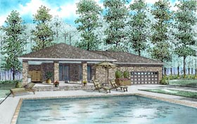 House Plan 82321 | Style Plan with 1128 Sq Ft, 1 Bed, 1 Bath, 2 Car Garage Elevation