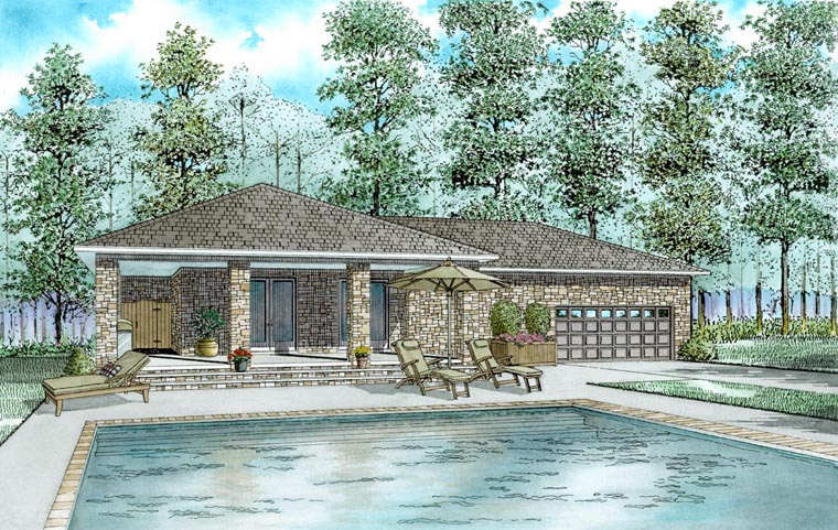 House Plan 82321 with 1 Beds, 1 Baths, 2 Car Garage Elevation