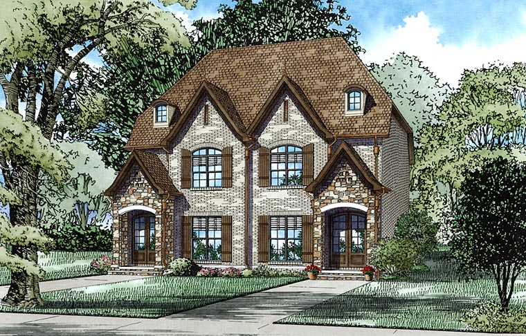 European, Tudor Multi-Family Plan 82334 with 2 Beds, 3 Baths Elevation