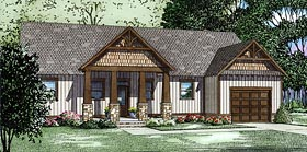 House Plan 82335 | Craftsman Ranch Style Plan with 2145 Sq Ft, 3 Bedrooms, 4 Bathrooms, 1 Car Garage Elevation