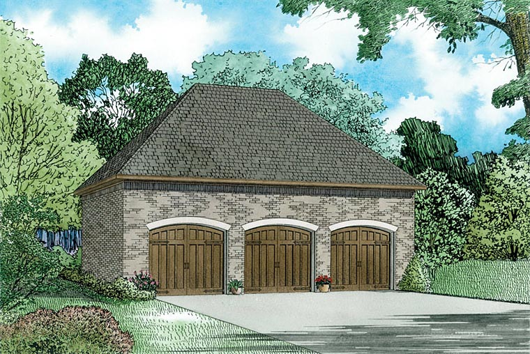 European 3 Car Garage Plan 82338 Elevation