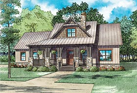 House Plan 82341 | Cape Cod Cottage Craftsman Style Plan with 1621 Sq Ft, 3 Bedrooms, 3 Bathrooms, 2 Car Garage Elevation
