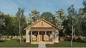 Cabin Ranch Traditional House Plan 82343 Elevation