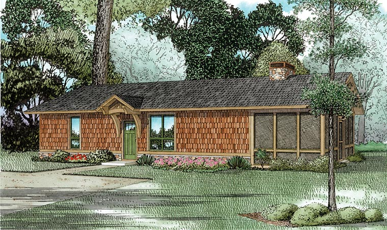 Cabin, Ranch House Plan 82344 with 1 Beds, 1 Baths Front Elevation
