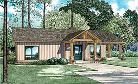 Ranch , Cabin House Plan 82345 with 2 Beds, 1 Baths Elevation