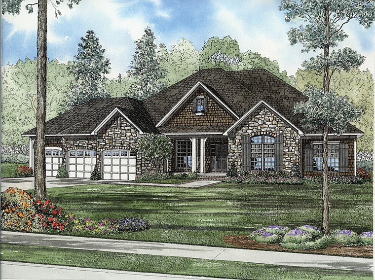 European Traditional House Plan 82347 Elevation