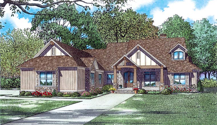 Country Craftsman Traditional Elevation of Plan 82352