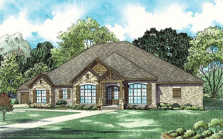 Country, Craftsman, European House Plan 82357 with 5 Beds, 4 Baths, 4 Car Garage Front Elevation