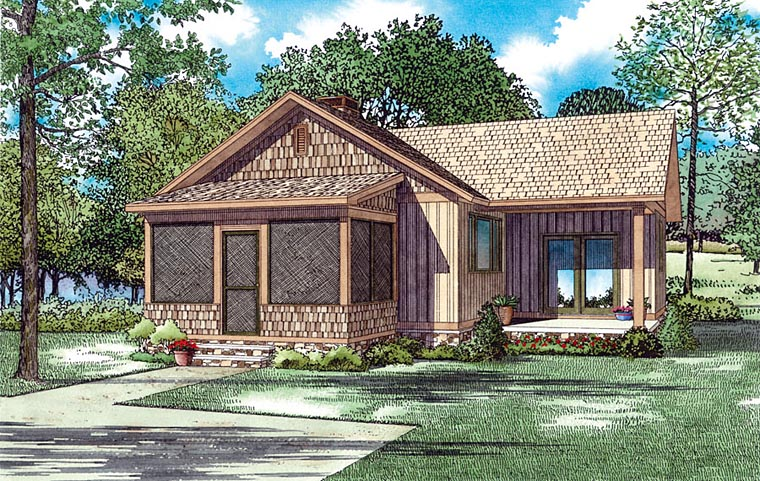 Cabin, Southern, Traditional House Plan 82358 Elevation