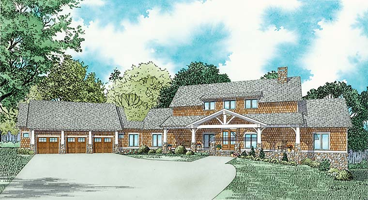 Bungalow, Country, Craftsman, Southern, Traditional House Plan 82361 with 3 Beds, 3 Baths, 3 Car Garage Elevation