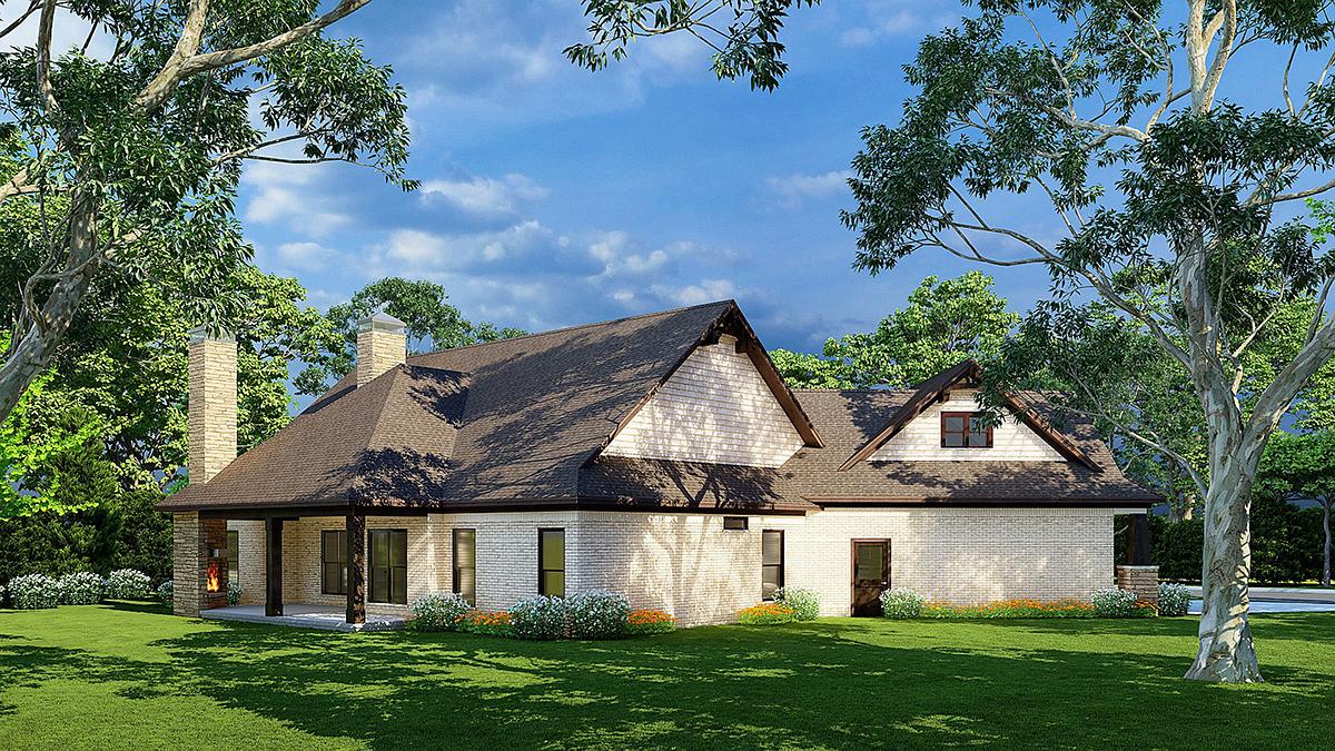 Cottage, Craftsman House Plan 82362 with 3 Beds, 3 Baths, 2 Car Garage Rear Elevation
