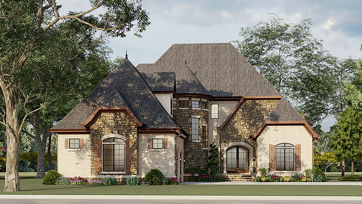Cottage, European, French Country House Plan 82400 with 4 Beds, 4 Baths, 2 Car Garage Elevation