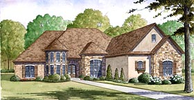House Plan 82401 | European Style Plan with 3713 Sq Ft, 4 Bedrooms, 4 Bathrooms, 4 Car Garage Elevation