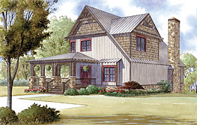 Country , Farmhouse , Southern House Plan 82409 with 3 Beds, 5 Baths Elevation