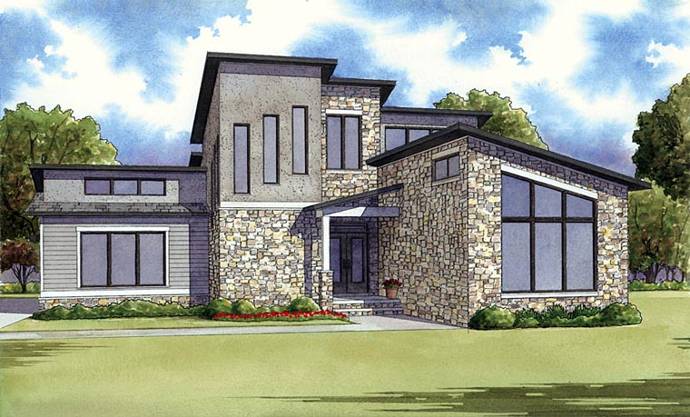 Contemporary, Modern House Plan 82410 with 2 Beds, 2 Baths, 2 Car Garage Elevation