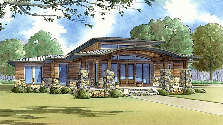 Contemporary, Prairie Style, Southwest House Plan 82413 with 3 Beds, 3 Baths, 2 Car Garage Elevation