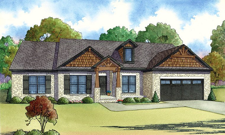 Cottage , Craftsman , Elevation of Plan 82414