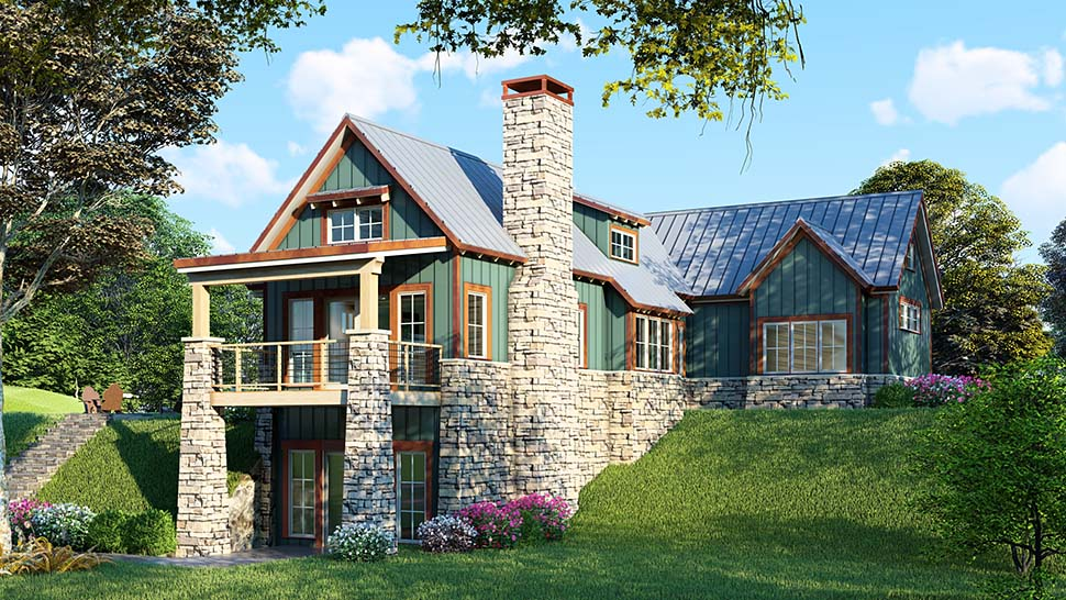 Bungalow Cottage Country Craftsman House Plan 82415 Rear Elevation