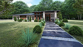 Modern , Contemporary House Plan 82416 with 3 Beds, 2 Baths, 2 Car Garage Elevation