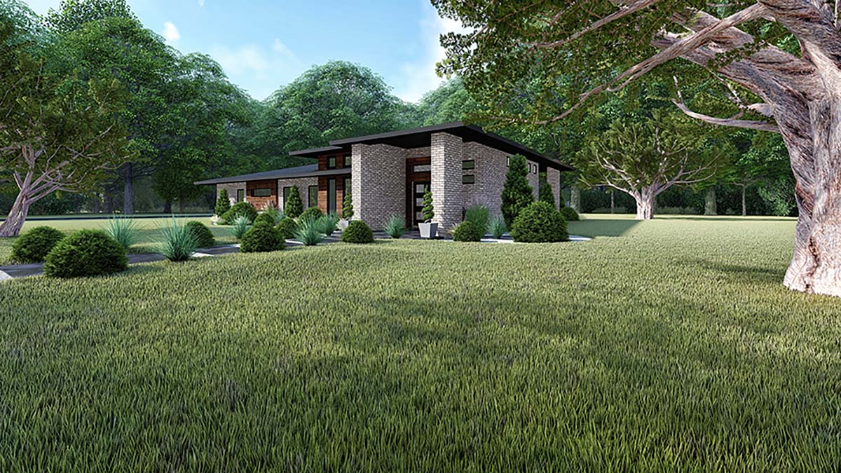 Contemporary, Modern House Plan 82416 with 3 Beds, 2 Baths, 2 Car Garage Picture 1