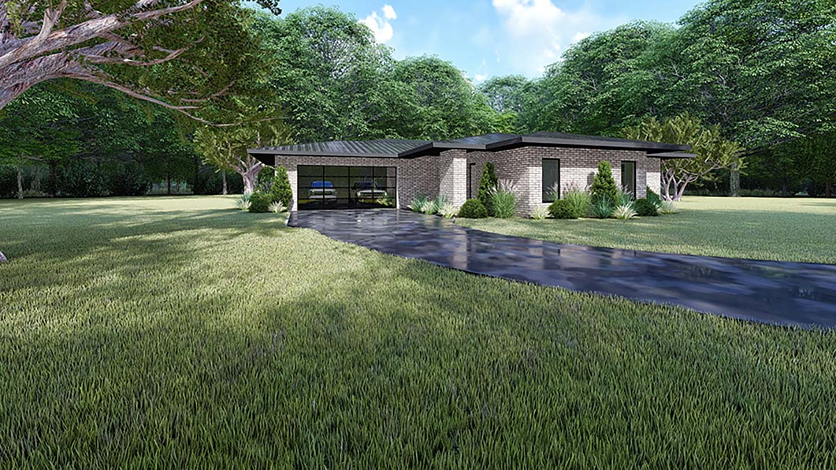 Contemporary, Modern House Plan 82416 with 3 Beds, 2 Baths, 2 Car Garage Picture 2
