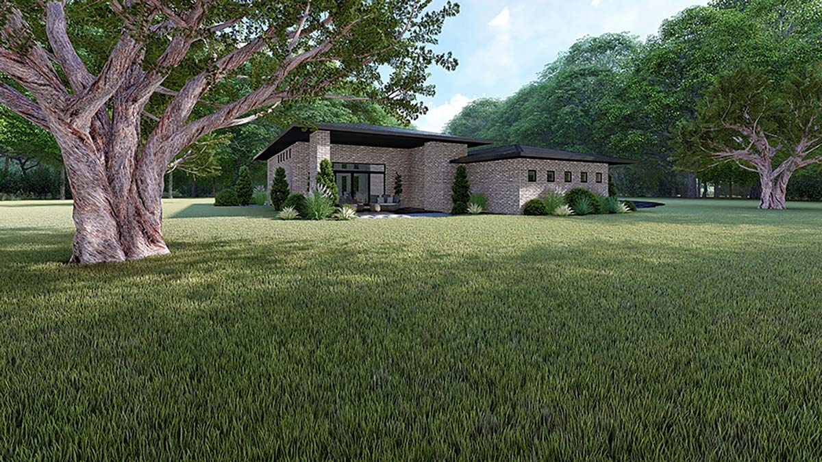 Contemporary, Modern House Plan 82416 with 3 Beds, 2 Baths, 2 Car Garage Rear Elevation