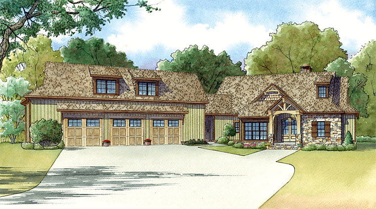 Country Craftsman Elevation of Plan 82418