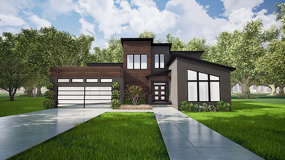 Contemporary, Modern House Plan 82420 with 3 Beds, 2 Baths, 2 Car Garage Elevation
